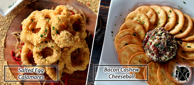 Salted Egg Calamares and Bacon Cashew Cheeseball at Top of Cebu Restaurant