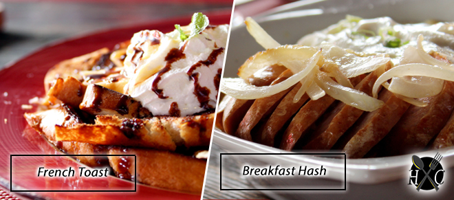 french toast and breakfast hash at top of cebu restaurant